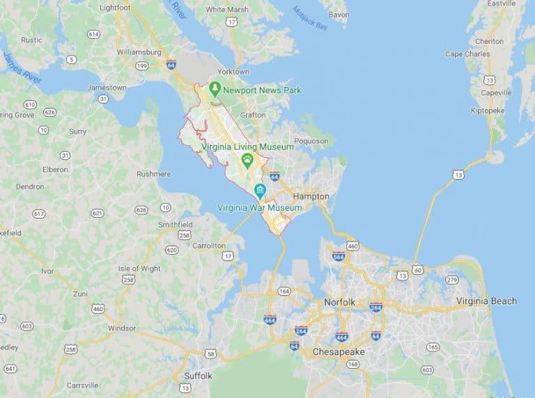 newport-news-virginia-map-williamsburg-chauffeur-service