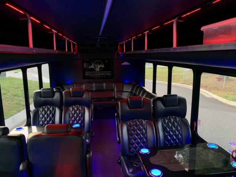williamsburg chauffeur service 16 passenger limo bus